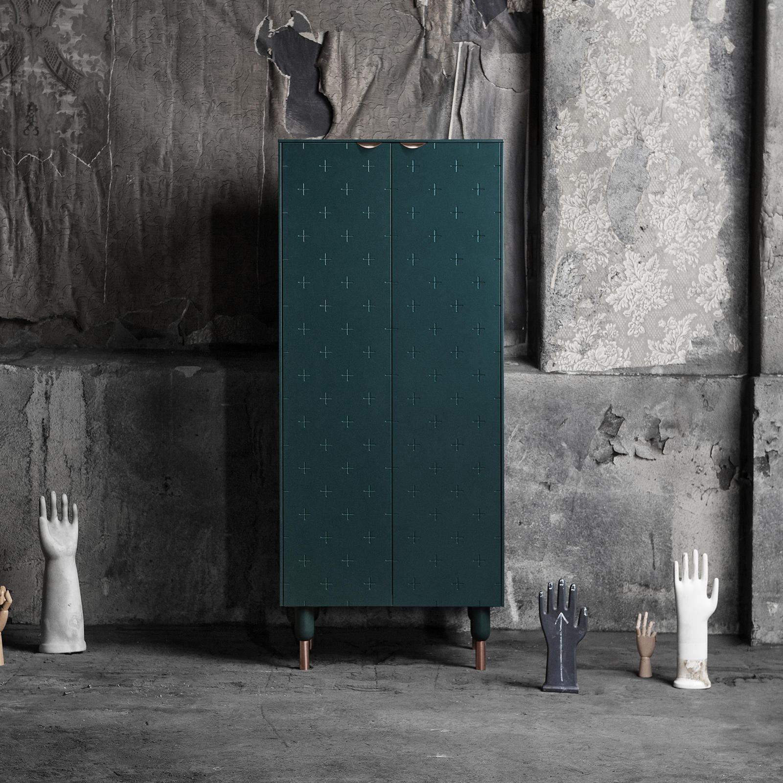 Cabinet in Bottle Green built from the Bestå frame, with details in copper from Superfront