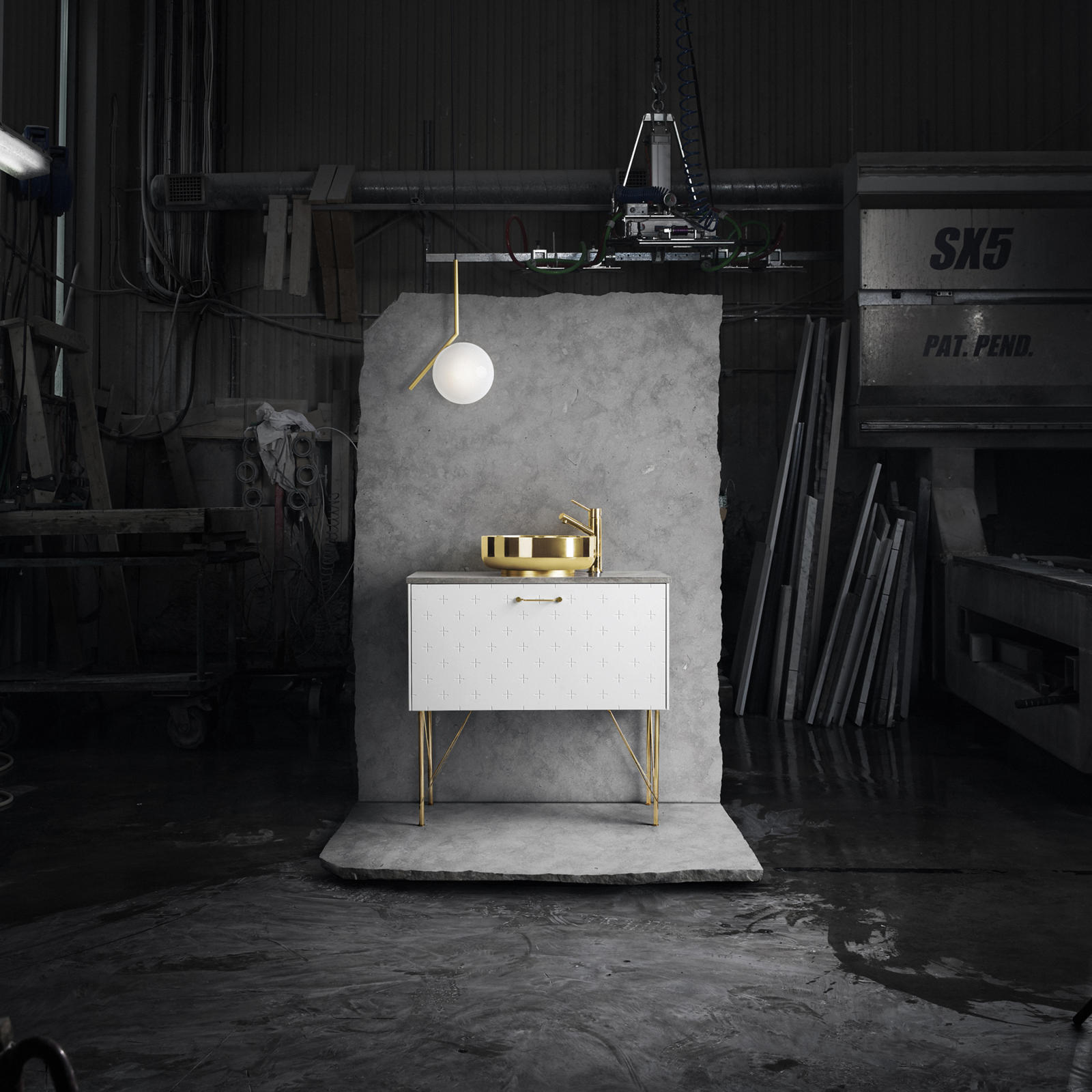 White bathroom vanity with sink, mixer tap and legs in brass