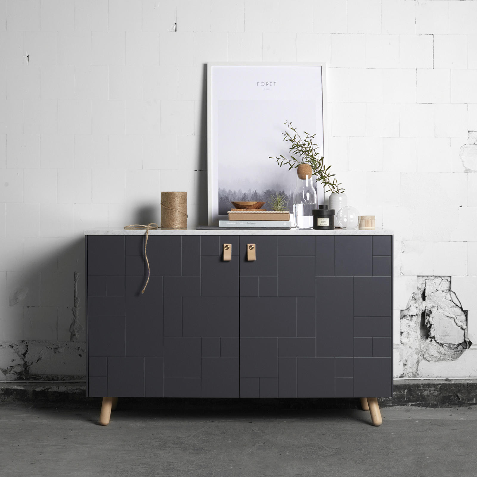 Furniture leg in clear-coated birch on a sideboard built from Ikea's Bestå frame